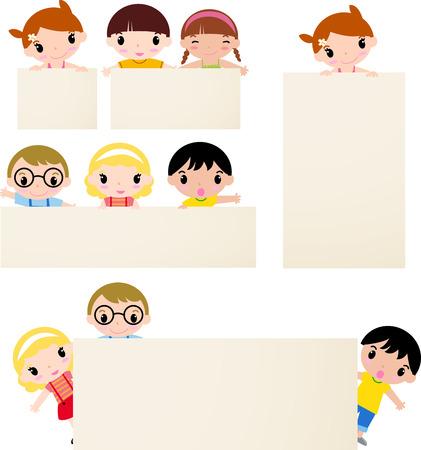 children school clip art: kids and banner Illustration