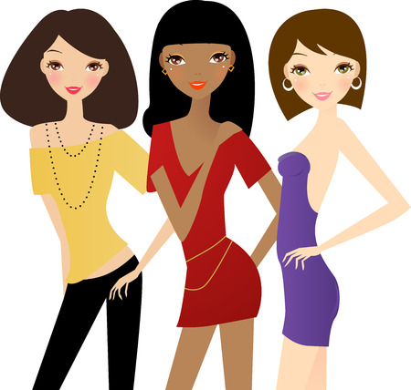 supermodel:   Save Download Preview     Three fashion girls Illustration
