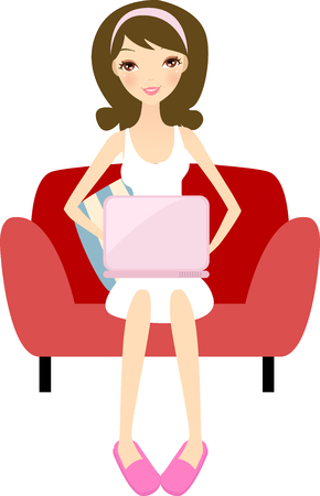 girl with laptop: Girl with laptop relaxing at home