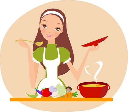 Salvare Scarica anteprima Cooking ragazza Archivio Fotografico - 30727080