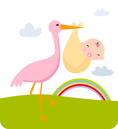 2,957 Baby Stork Stock Vector Illustration And Royalty Free Baby ...