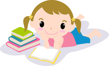 laying little: Cute girl reading book Illustration