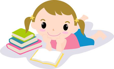 reading cartoon: Cute girl reading book Illustration