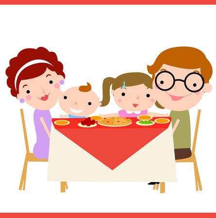 cena de la familia feliz