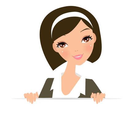 woman short hair: Pretty girl and banner Illustration
