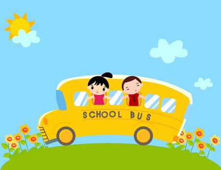 chofer de autobus: Niños en autobús escolar vector