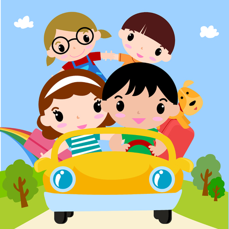 Happy family in car on vacation Vectores