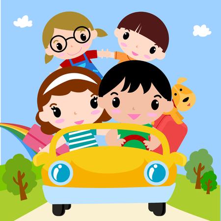 perro familia: Familia feliz en coche de vacaciones