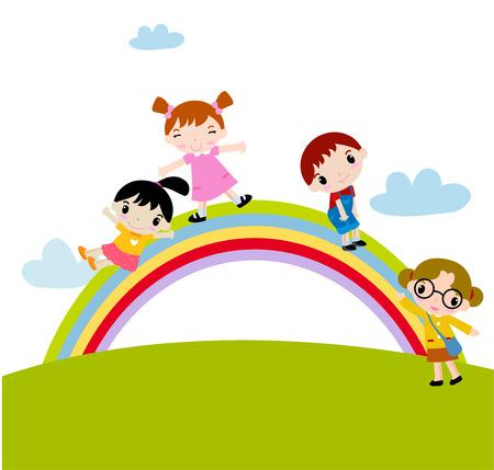 child sitting: Children and rainbow Illustration