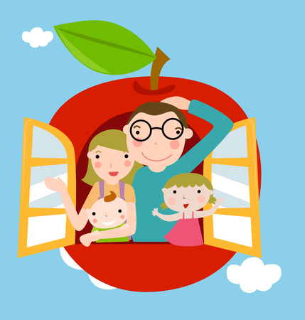 family members: family with apple background