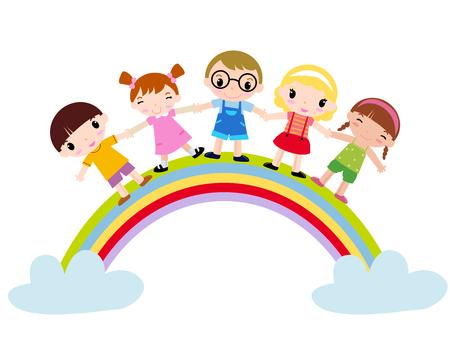 Rainbow Kids Vector