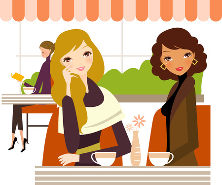 Three ladies drinking coffee