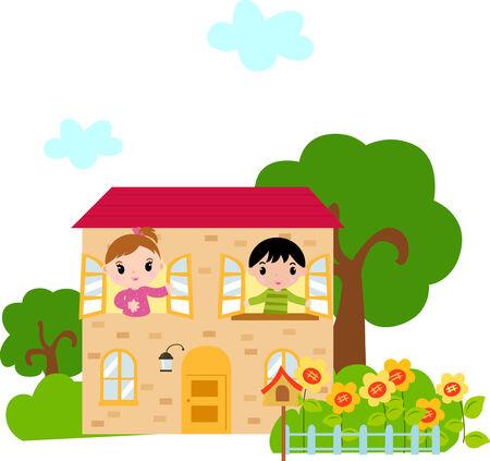 cartooned: Kids and house Illustration