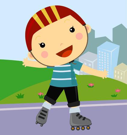 roller skates: Cute little boy riding roller skates Illustration