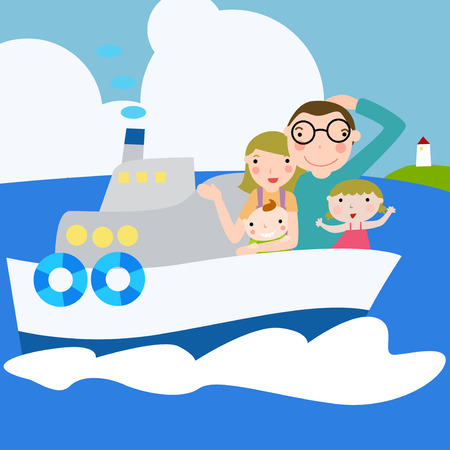 cruise cartoon: A family travels in ship Illustration