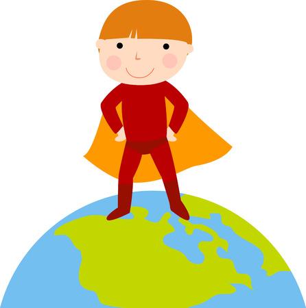 Little boy dressed as a super hero Illustration