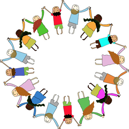 children holding hands in a circle Illustration