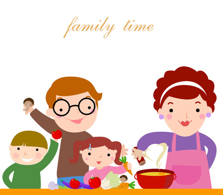 kitchen cooking: happy family cooking together