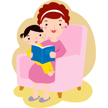 stories: Young mother reading book to her daughter Illustration
