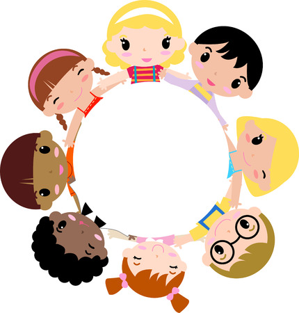 child standing: children holding hands in a circle Illustration