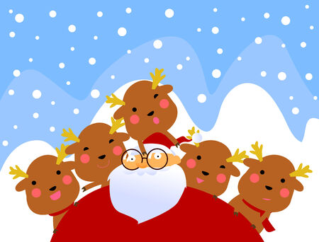 rudolf: santa and rudolf having fun Illustration