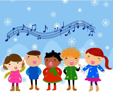 きよしこの夜歌を歌って冬子供  イラスト・ベクター素材