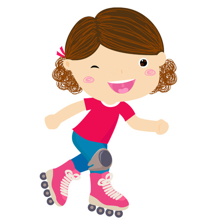 Cute little girl riding roller skates