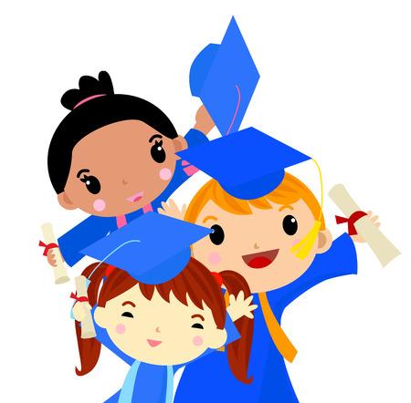 graduate asian: Graduation Kids Illustration