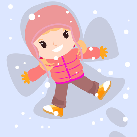 lay down: Happy girl in snow making angel