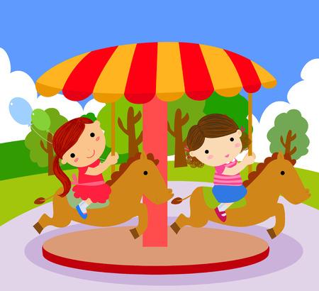 carrousel: Children ride on the carousel