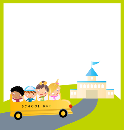 Four kids and school bus  Vector