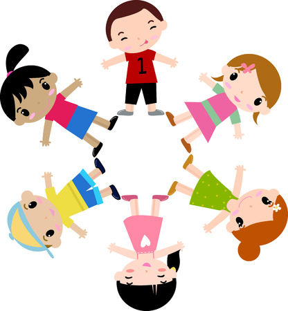 children circle: Six children holding hands in a circle Illustration
