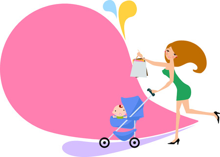 baby carriage: Mother with a carriage Illustration