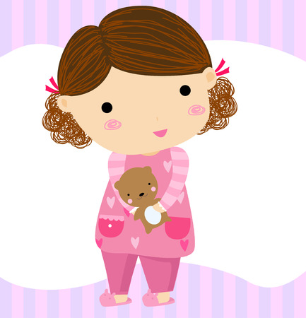 cartoon girl with teddy bear