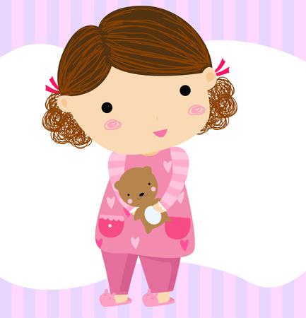 pijama: niña de dibujos animados con el oso de peluche Vectores