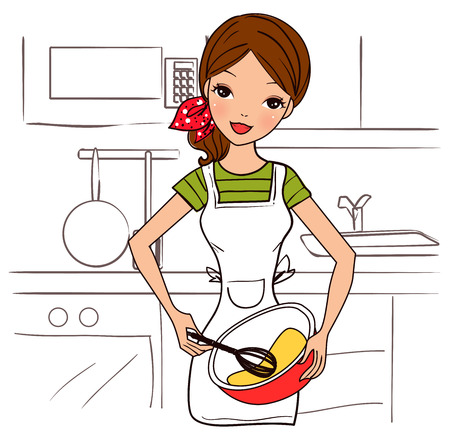 happy housewife holding a bowl and whisk Vector