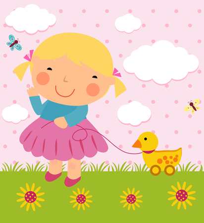 children s: a girl and duck toy