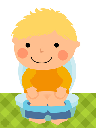 Baby boy sitting on the toilet Vector