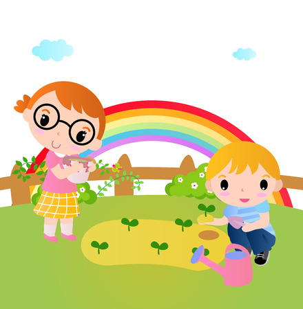 Two happy kids planting plants in the garden Vector