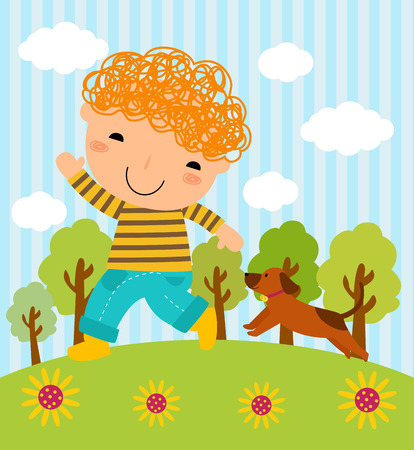 Illustration of a boy and his dog playing in the park Vector