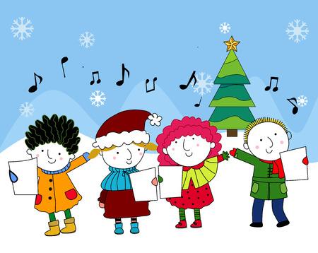 Weihnachtslieder Zum Singen.Glückliche Kinder Singen Weihnachtslieder Lizenzfrei Nutzbare