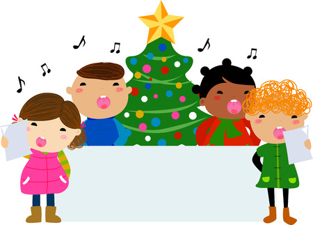 caroler: Christmas carols and banner Illustration