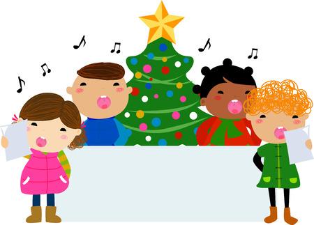 Christmas carols and banner Illustration
