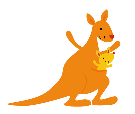 mother kangaroo with her little baby Vector