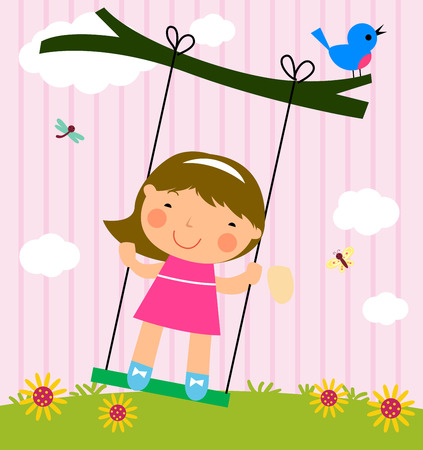 Cute girl and swing Vector