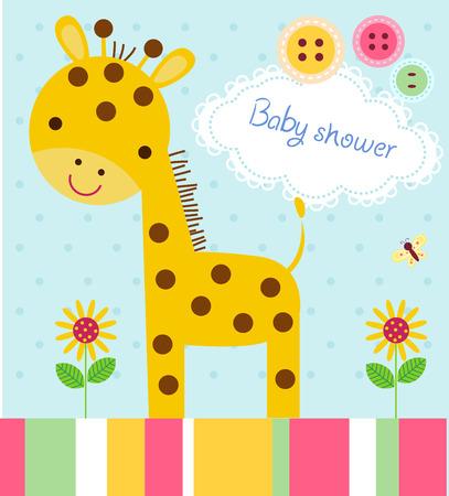 giraffe frame: Cute baby shower birthday invitation card with giraffe