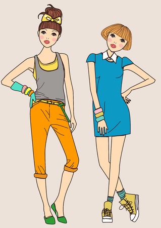 showgirls: Fashion girls Illustration