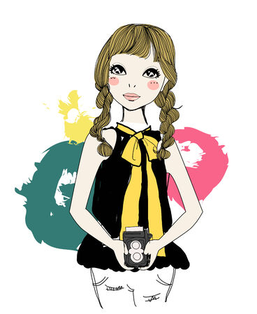 Fashion girl with vintage film camera Vector