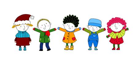 stick children: children-winter Illustration