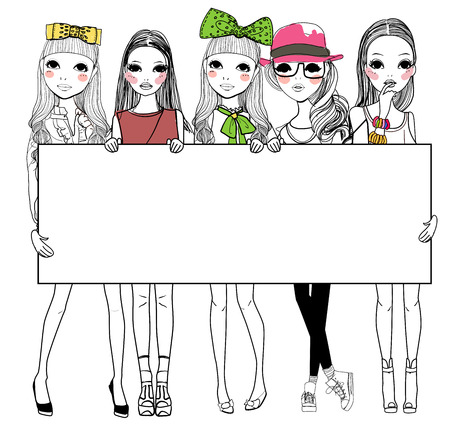 Five fashion girls with banner Stock Illustratie